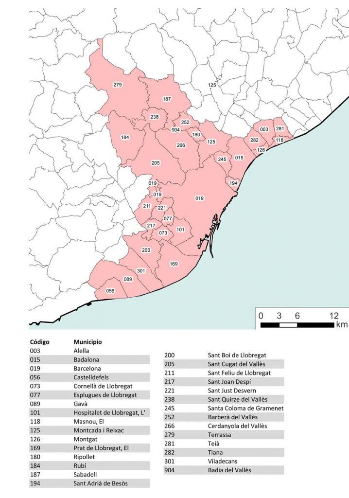 Mapa de la conurbación de Barcelona