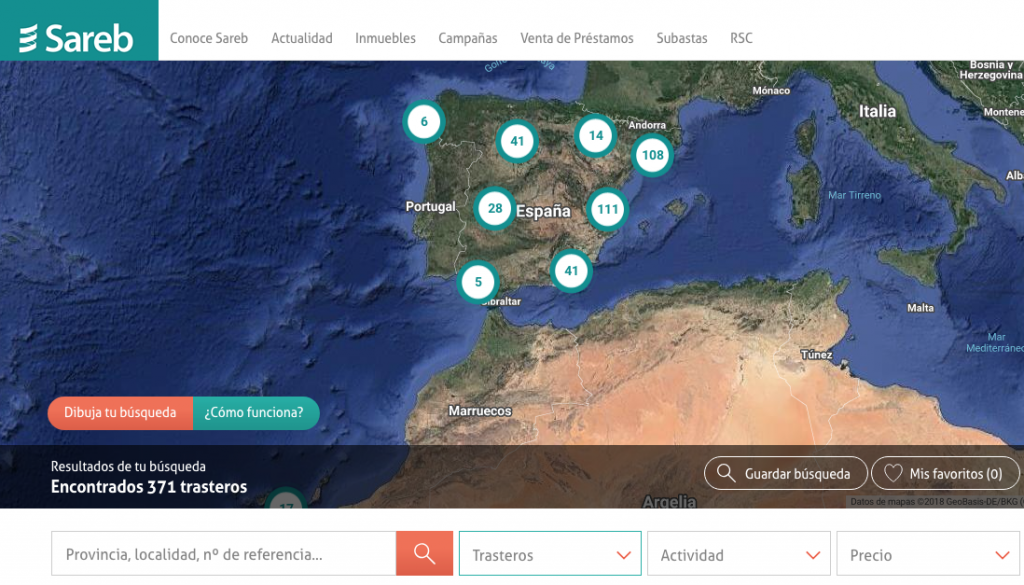 La web de Sareb ofrece trasteros en venta en diferentes puntos de España.