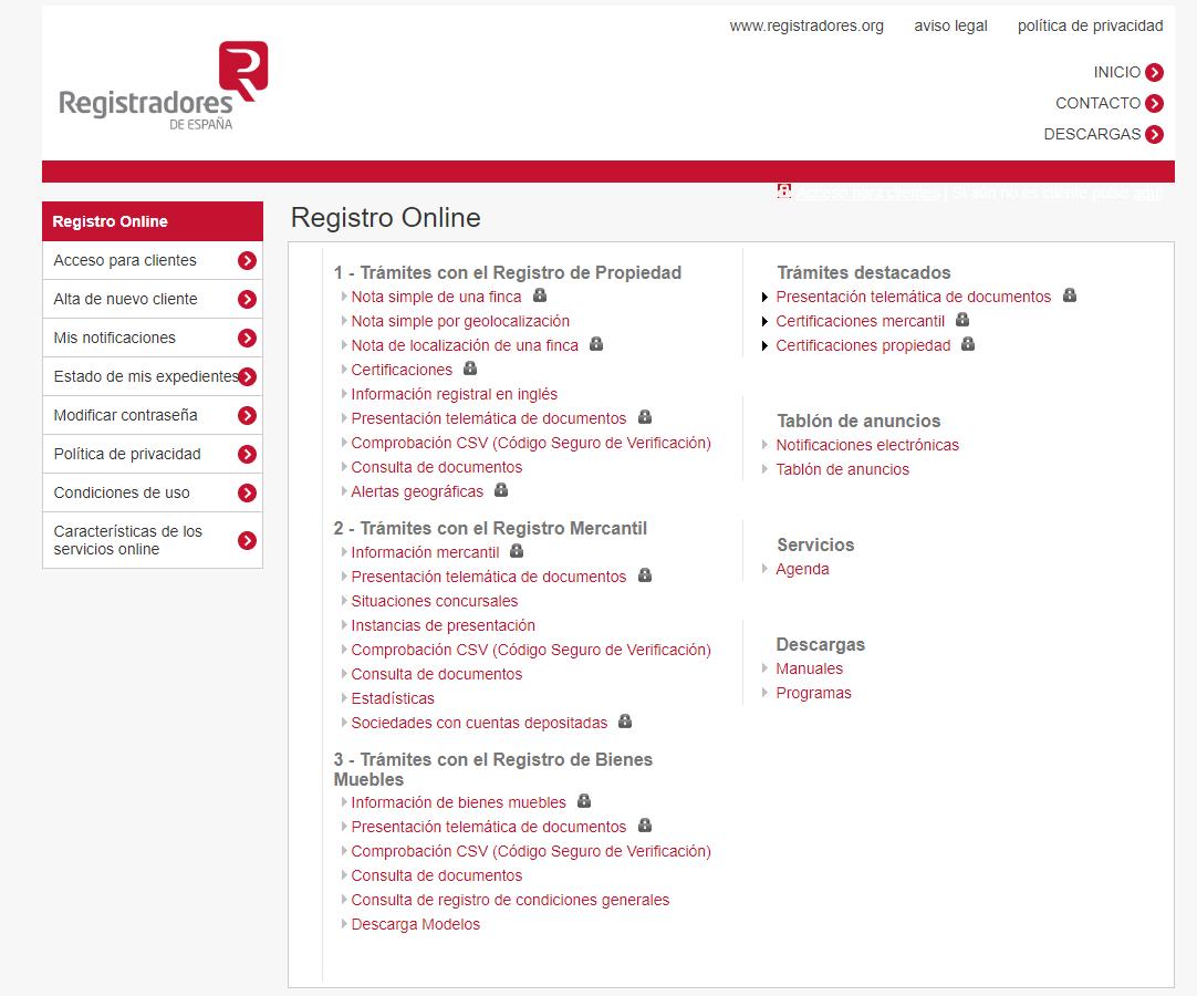 registro online nota simple registral