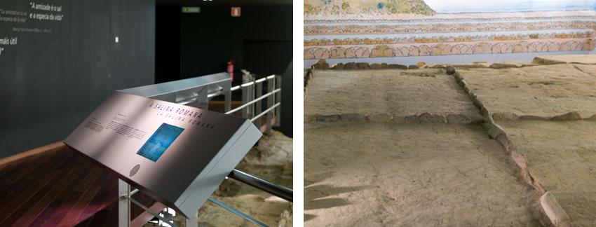 expositor y muestra del Centro Arqueológico Areal. Muestran la excavación de unas salinas romanas