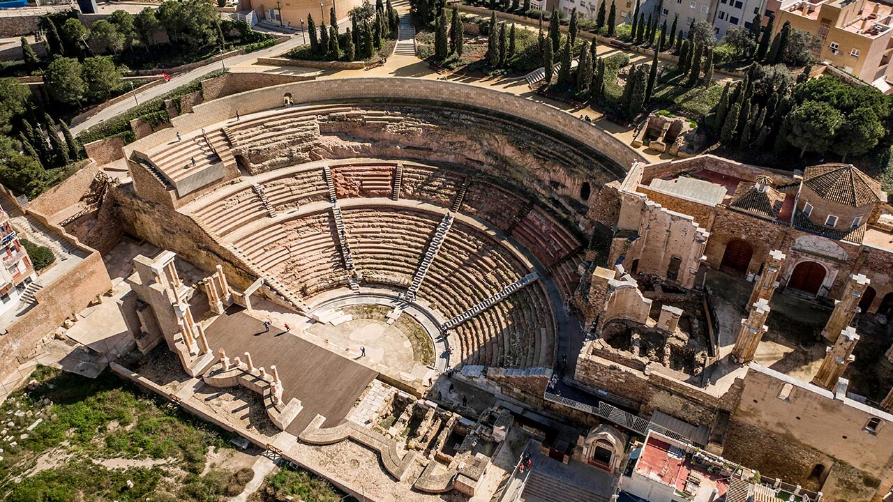 vista aérea del Teatro de Cartagena restaurado