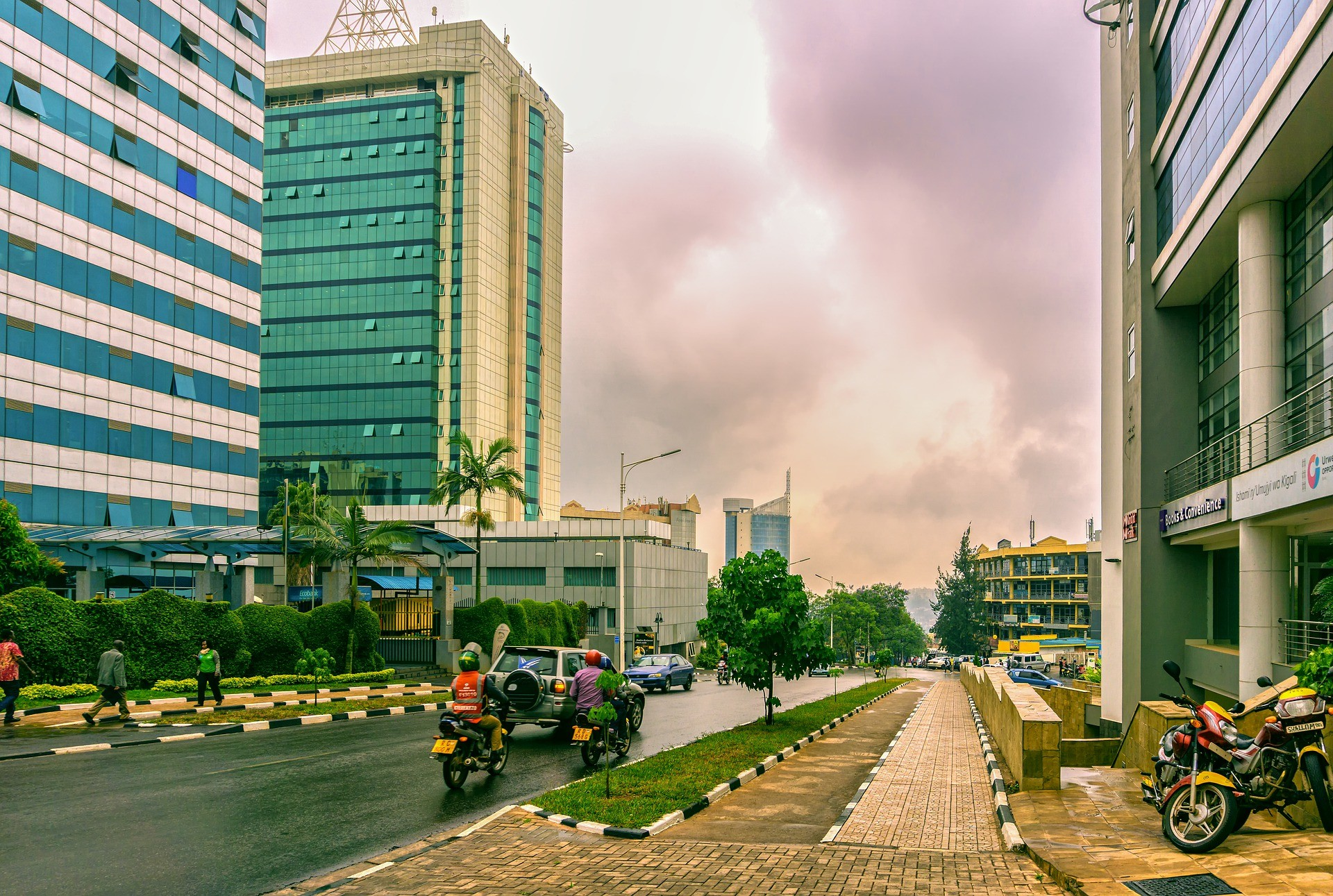african city with fewer traffic and people