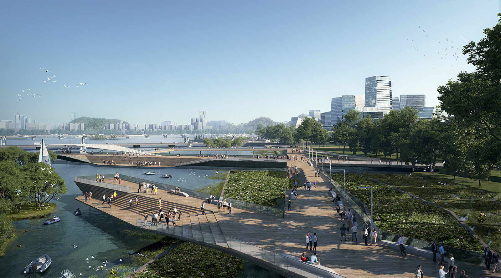 Render showing Net City as planned, including a fresh water pier.