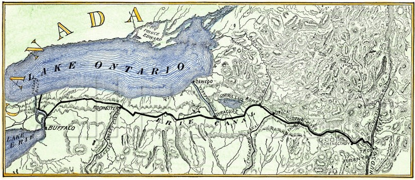 old map of the erie canal