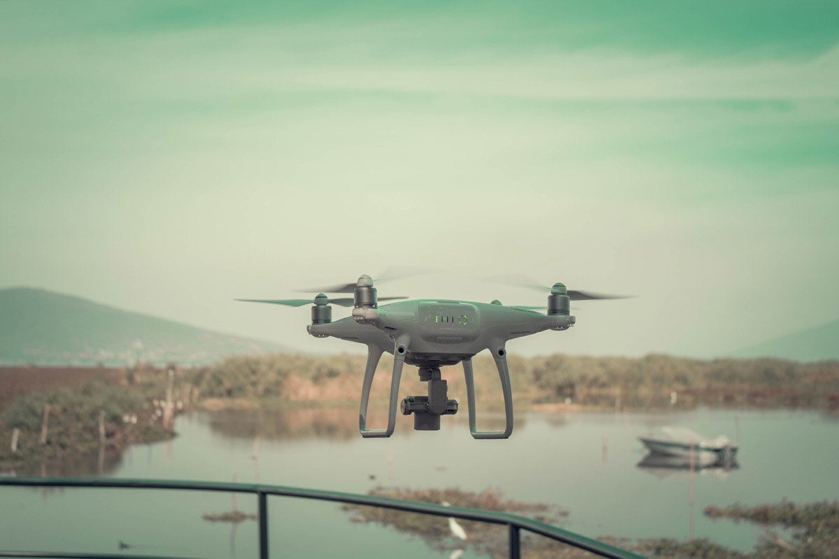 drone hovering near a swamp