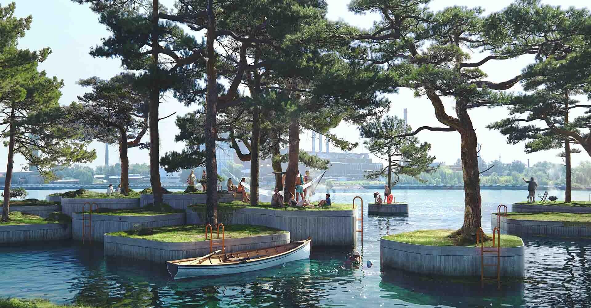 Recreación de las islas flotantes en Copenhague.