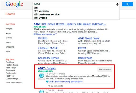 Captura de la búsqueda de AT&T en Google+