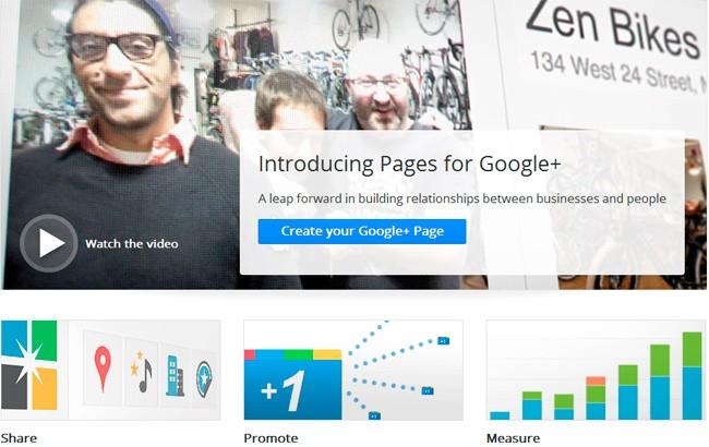 Páginas de Google+
