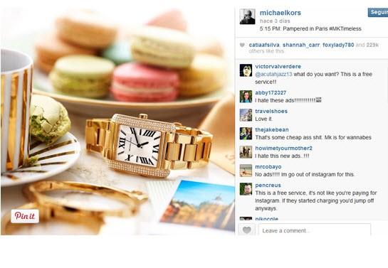 michael kors publicidad instagram