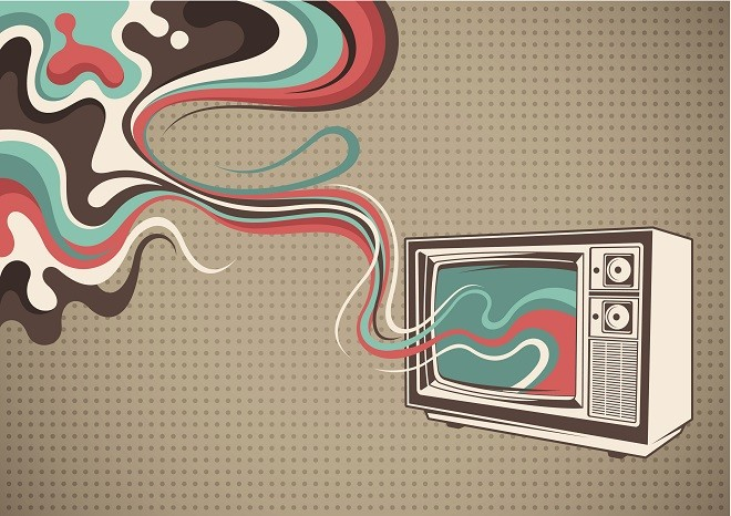 Abstract poster with TV.