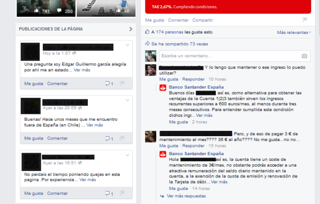banco santander marketing financiero facebook