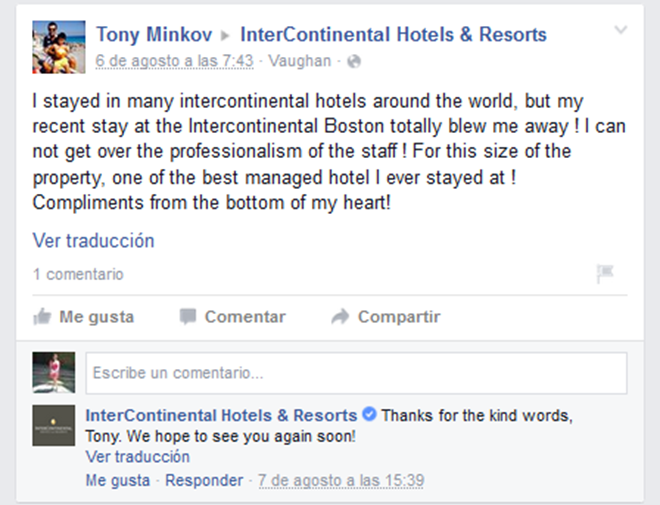 intercontinental facebook