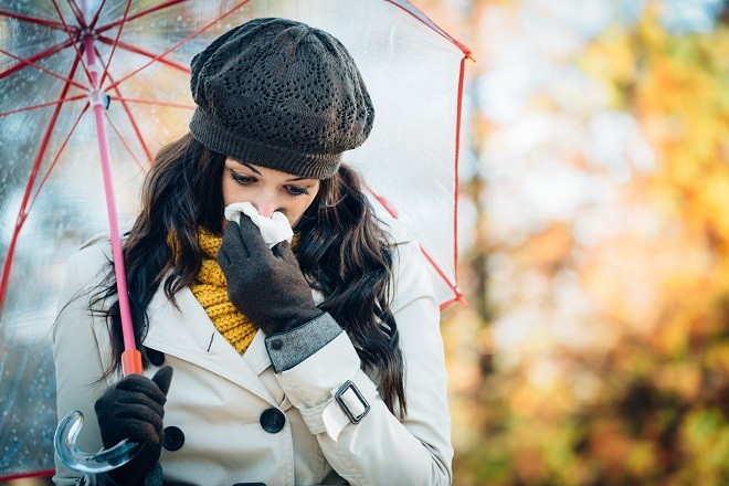 Sadness flu and cold on autumn