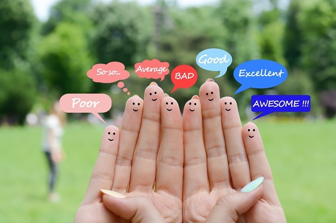 Happy human fingers suggesting feedback and communication concept